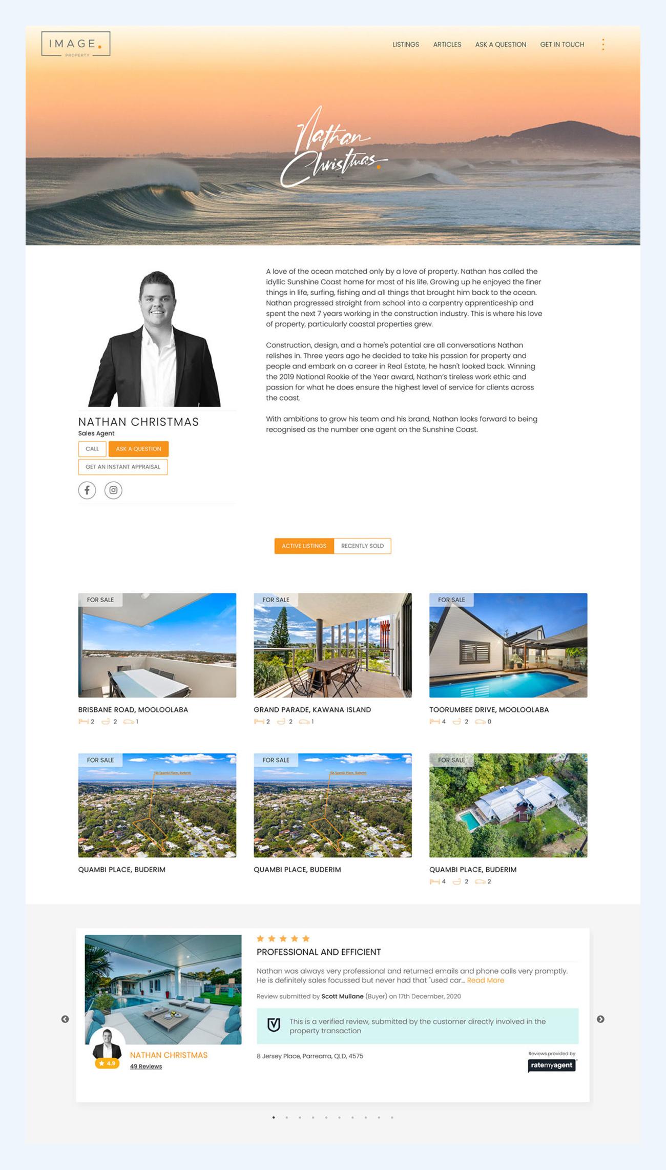 website design real estate agent page